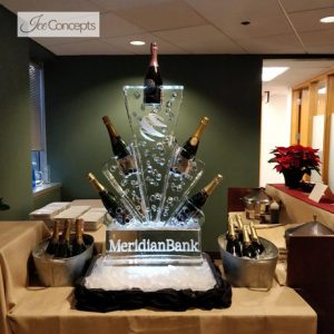 "Meridian Bank Champagne Bottle Holder Ice Carving - 20"" x 40"", 1 Block"
