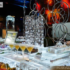 Multi Level Specialty Drink Display Ice Carving