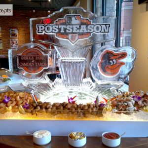 "Orioles Post Season Ice Sculpture - 55"" x 40"", 3 Blocks"
