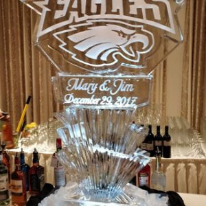 "Personalized Eagles Luge Display Ice Carving - 38"" x 50"", 2 Blocks"