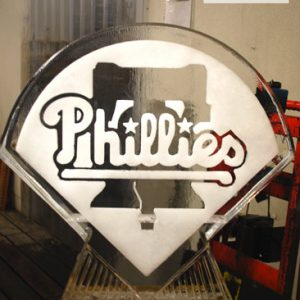 "Philadelphia Phillies Logo Ice Sculpture - 30"" x 30"", 1.5 Blocks"