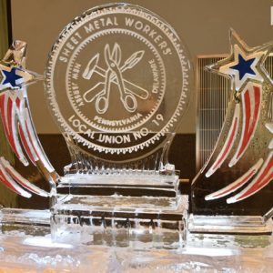 "Sheet Metal Workers Union Ice Sculpture - 45"" x 60"", 3.5 Blocks"