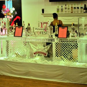 "Smirnoff U Shaped Ice Bar - 10.5' Long, 5' Deep, 45"" Bar Height"