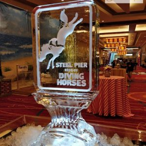 "Steel Pier Diving Horse Ice Sculpture - 20"" x 40"", 1 Block"