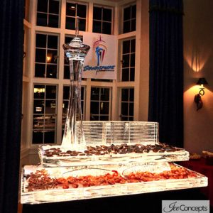 "Custom Stratosphere Seafood Server Ice Sculpture - 80"" x 35"", 7 Blocks"