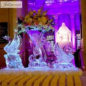 "Swan and Vase Display Ice Carving - 80"" x 70"", 3.5 Blocks"