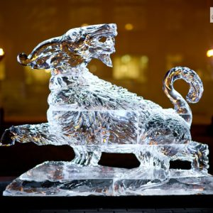 "UPenn Law School Goat Ice Sculpture - 70"" x 50"", 6 Blocks"