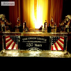 "Union League Stars and Stripes Ice Bar - 8' Long, 45"" Bar Height"