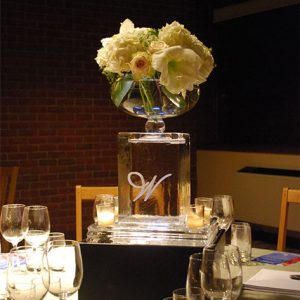 "Rectangle ""W"" Table Centerpiece with Glass Flower Dish"