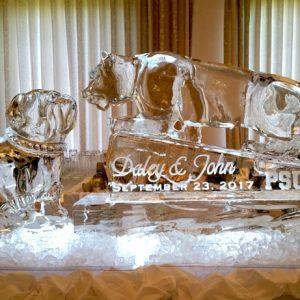 "Wedding Mascots Ice Carving - 65"" x 30"", 3 Blocks"
